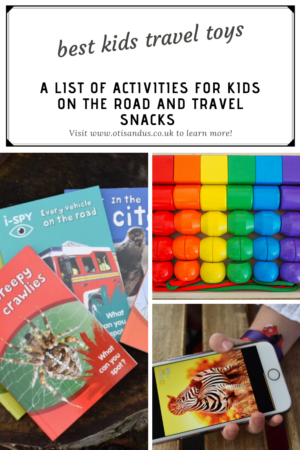 a list of toys for kids on the road and snack ideas for a road trip