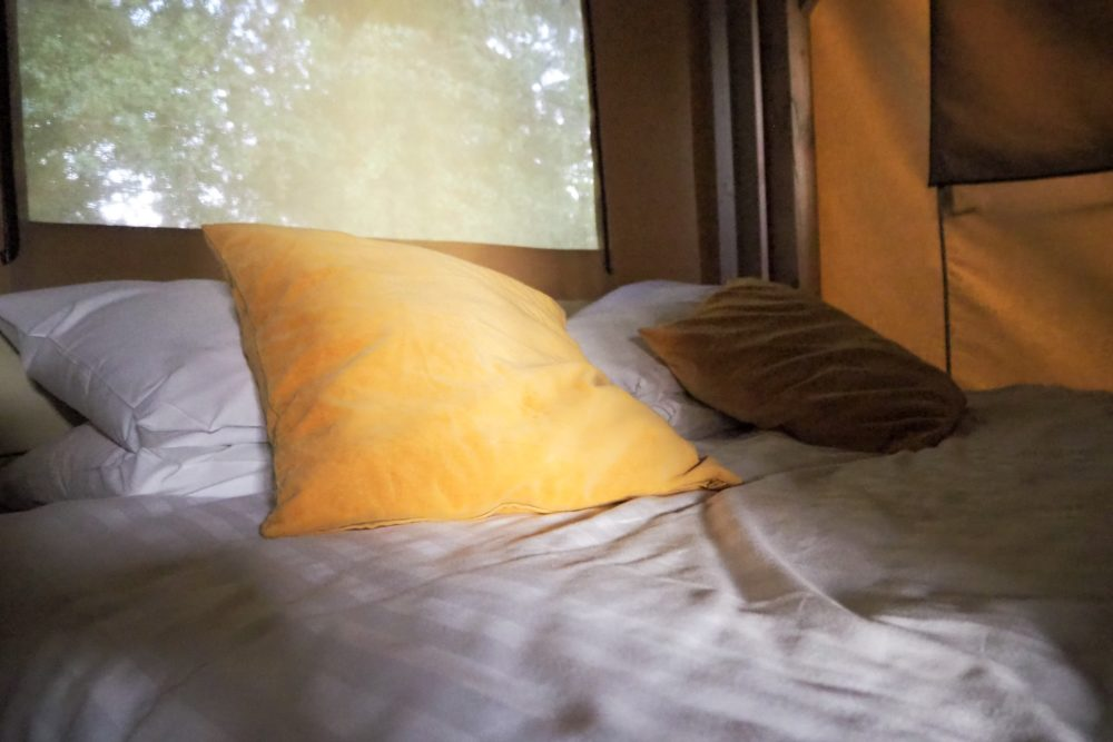 bedding provided at Ashbourne Heights holiday park glamping