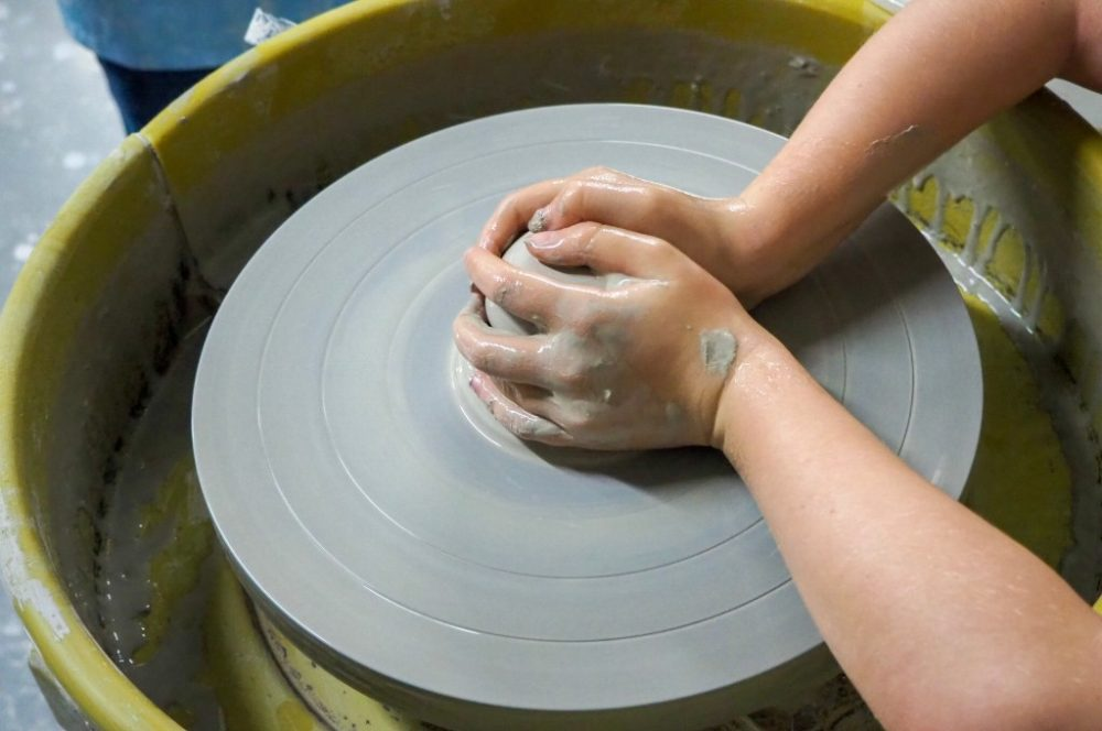Potters at Wheel at World of Wedgwood in Stoke on Trent