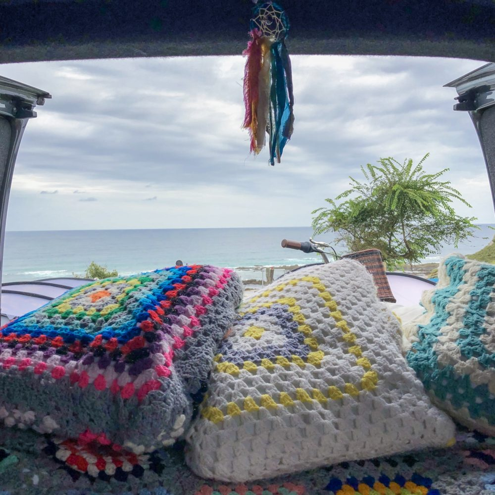 crochet cushions are a great camper van storage hack!