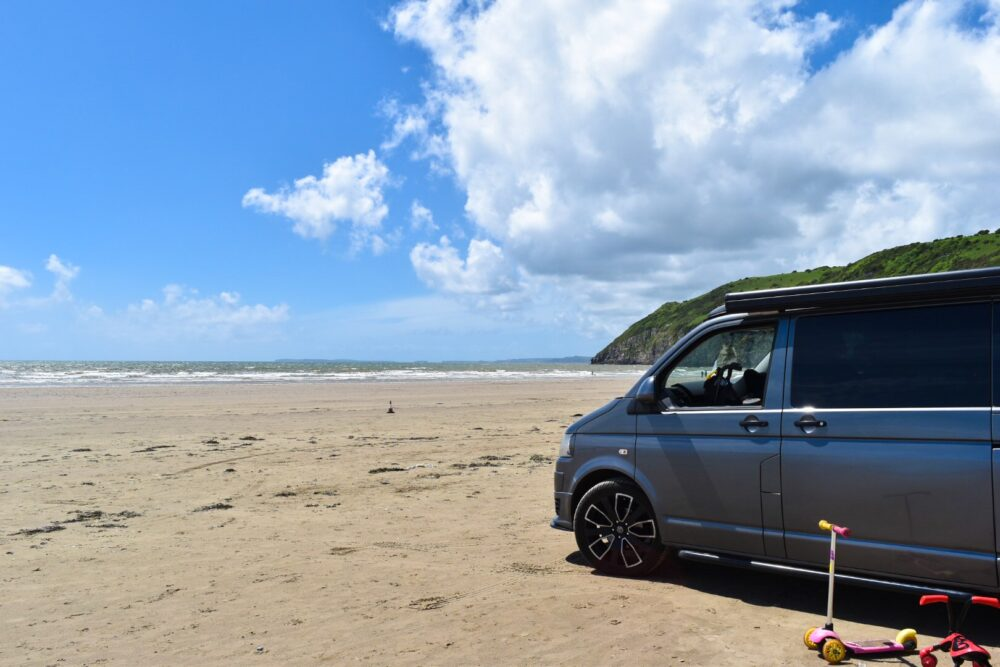 driving on a beach in Pembrokeshire South wales