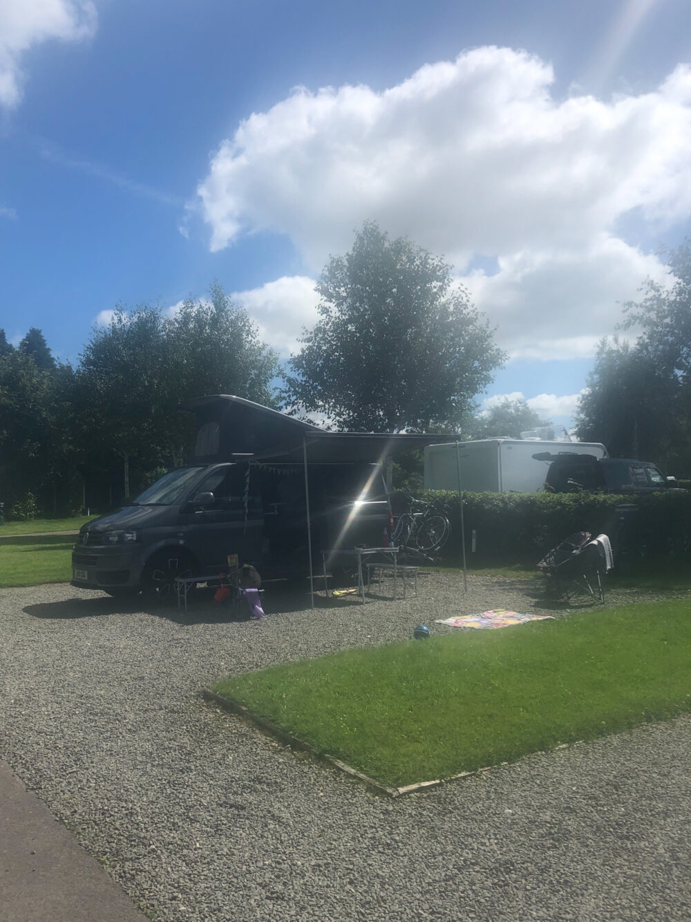 pitches at The Firs club site with The Caravan and Motorhome Club T5 converted camper